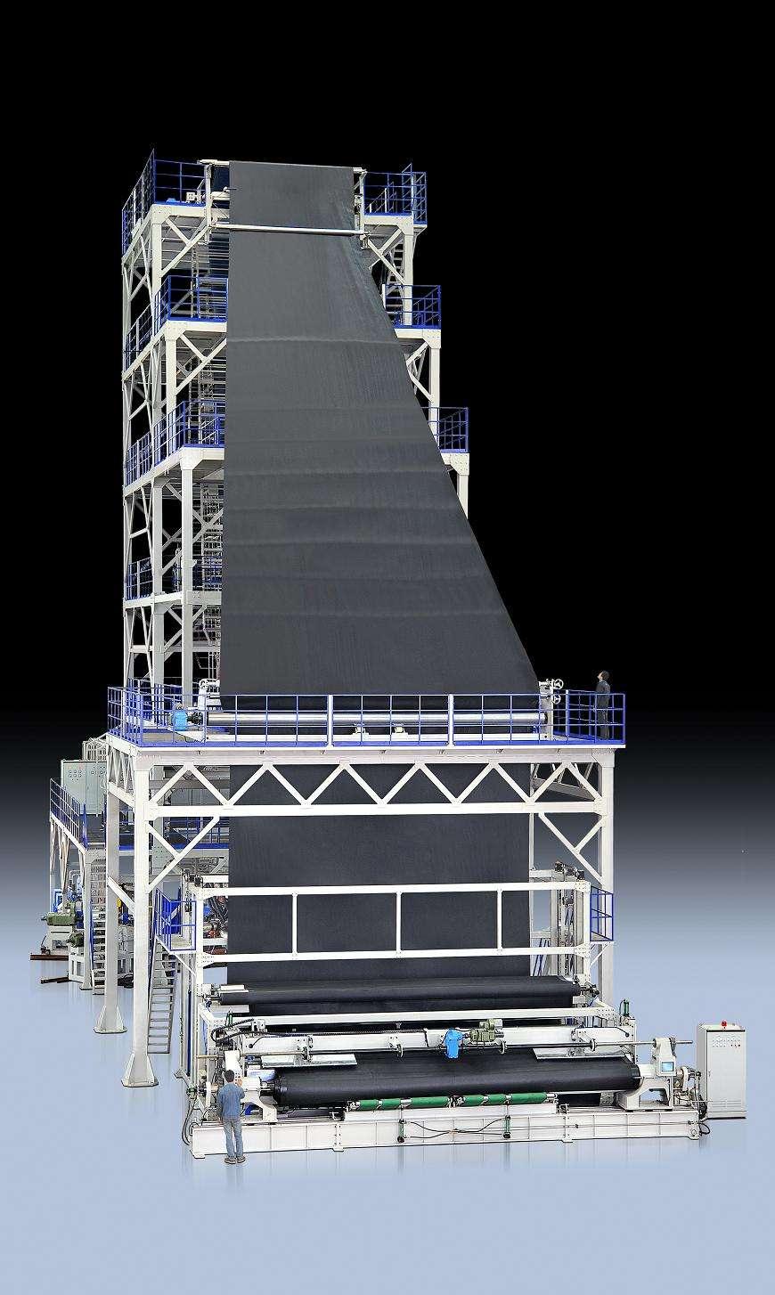 典型的聚乙烯土工膜平挤上吹法工艺流程
